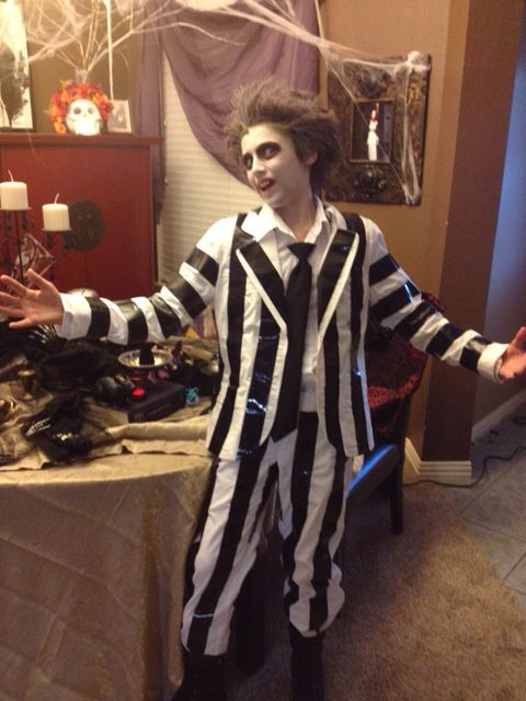 A $15 kid's Beetlejuice cosplay that won the kids' cosplay contest at Dallas Comic Con. Wckedwords= thrift-play. https://wckedwords.wordpress.com/2015/06/26/thrift-play-beetlejuice/