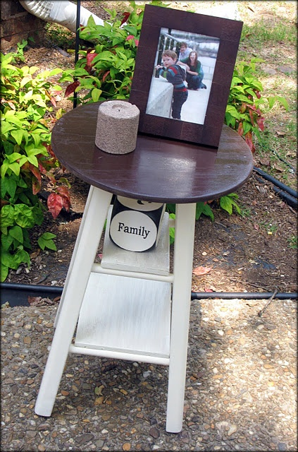 DIY: stool made into a side table by adding wood planks & paint.. I like.