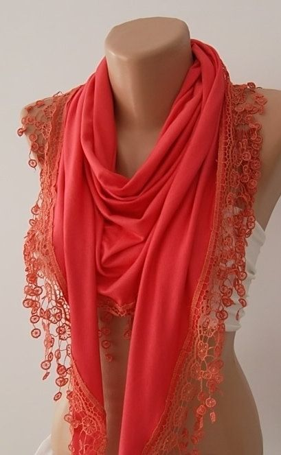 Coral   Jersey Shawl/ Scarf  Headband Cowl with by TrendyTextile, $20.00