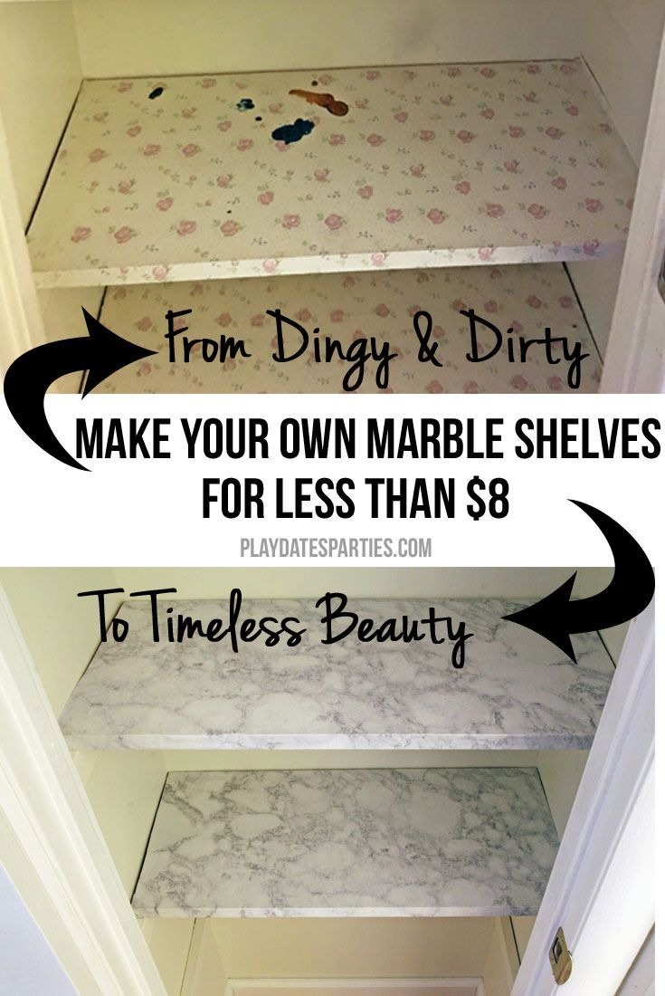 Find out how to make your own inexpensive marble shelves in your own closet for a timeless look. It only takes a couple hours and a few dollars! http://playdatesparties.com/2016/10/inexpensive-marble-shelves.html