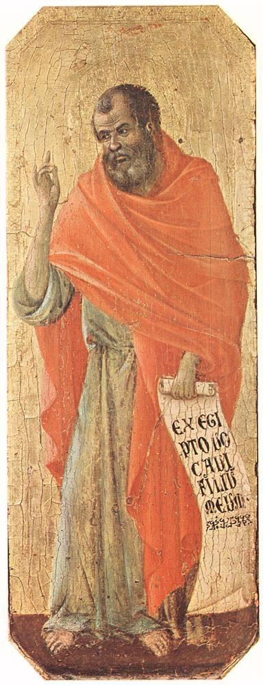 """Prophet Hosea / Profeta Oseas // 1308-1311 // Duccio di Buoninsegna // """"Ex Egipto vocavi filium meum"""" (I have called my son out of Egypt) Hosea 11:1 // Museo dell'Opera del Duomo, Siena"""
