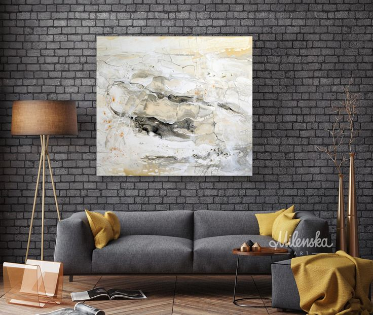Marble world 1 - Original Large White Abstract Painting, White Marble Painting on streced canvas, White&Grey Modern Art 80x90 cm / 31'x35' by MilenskaArt on Etsy