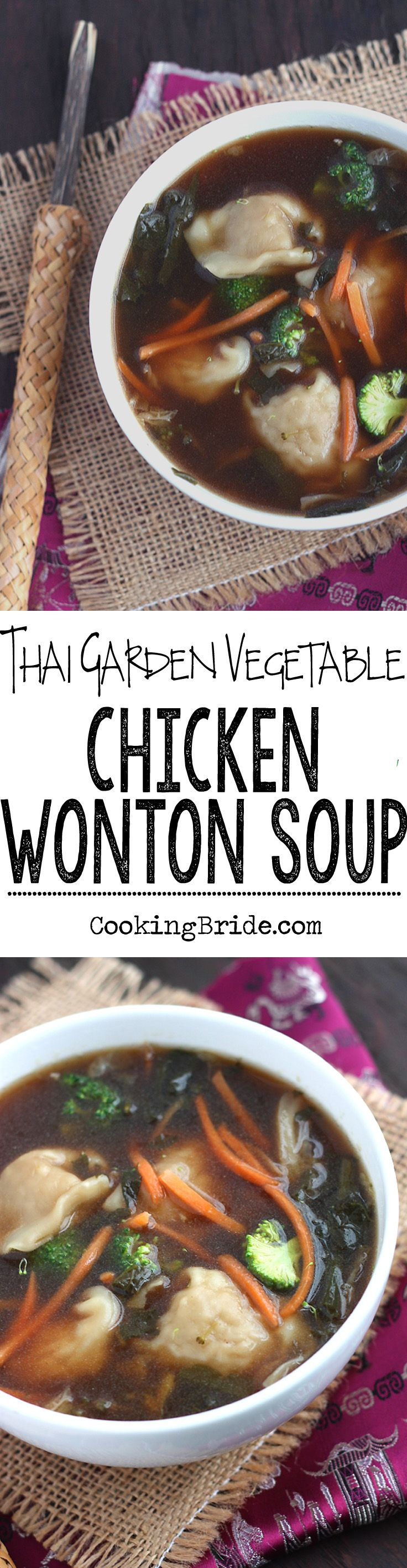 Tender veggies and spicy tangy thai chili vinegar make give this garden vegetable chicken wonton soup a kick.