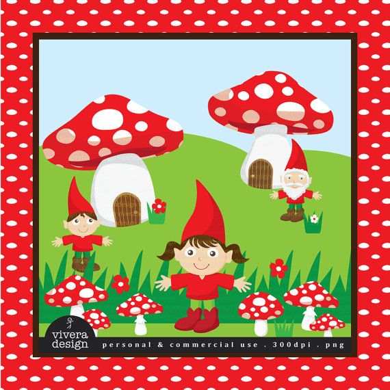 Red Mushrooms and the Gnomes  Digital Clip Art by viveradesign, $5.00