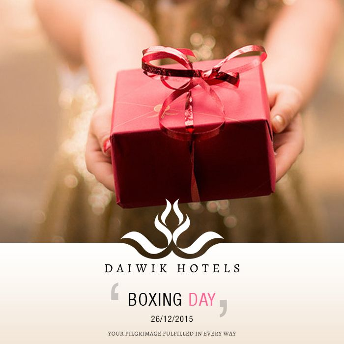 BOXING DAY. 26TH DECEMBER 2015. In England the day after Christmas was traditionally celebrated as the day when needy people, servants and tradesmen were given boxes of gifts. It is also celebrated as the Feast of St. Stephens when boxes for donations kept outside churches are opened and the contents distributed among the poor. Boxing Day is a holiday in England, Canada, Australia and New Zealand. Daiwik Hotels wishes everyone on the auspicious occasion of Boxing Day.