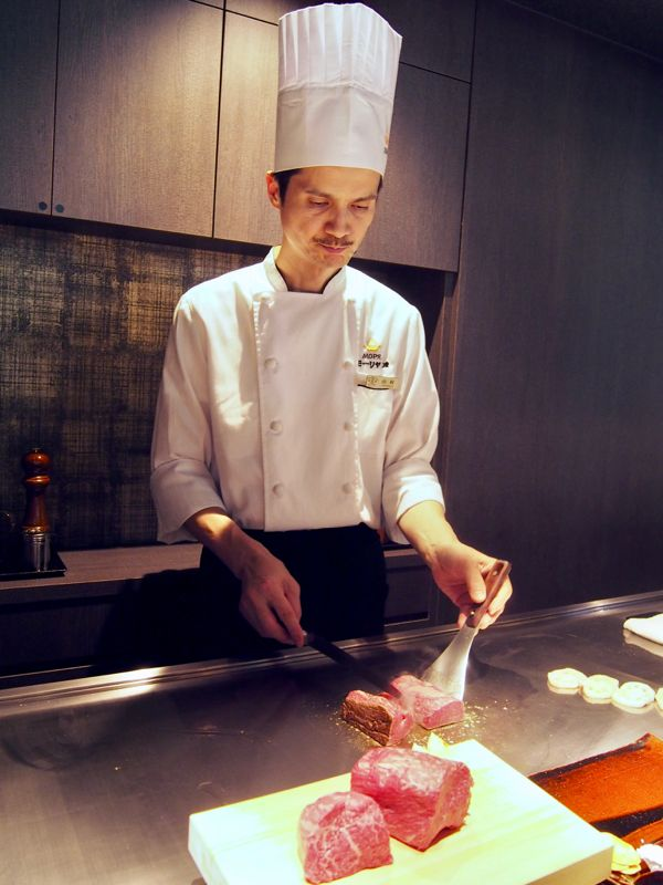 Chef at the Kobe beef restaurant