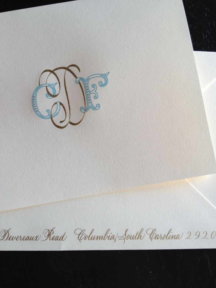 Another beautiful engraved two color monogram - Arzberger Stationers