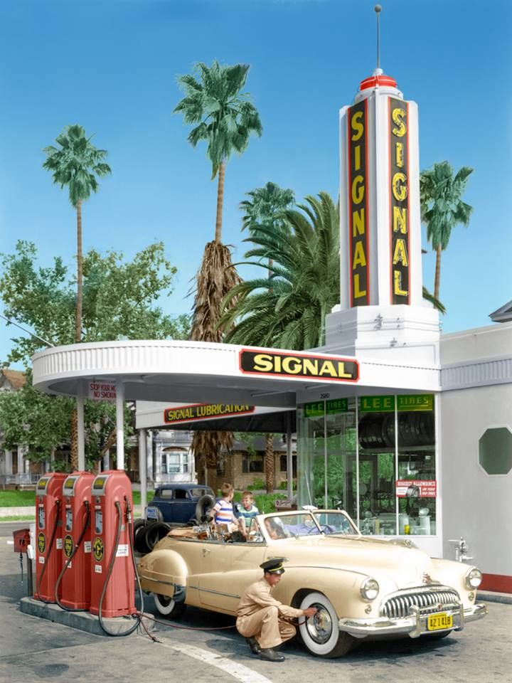 Old Country Auto >> 1948 Buick Super Eight At Gas Station Old Gas Stations
