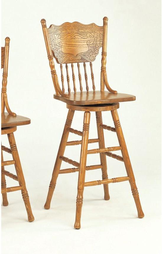 """Coaster Company Stools Mackinaw 29"""" Counter Height Victorian Press Back Bar Stool Oak"""
