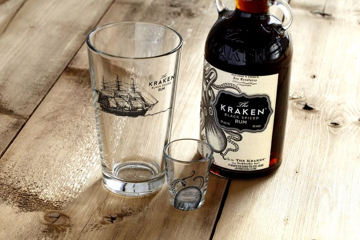 Mined at great expense from the world�s rarest deep-sea glass deposits, The Kraken Glass Combo Set is meticulously calibrated to hold The Kraken Rum in combination with other drinkable liquids at extreme temperatures and exotic locations. Both vessels have been thoroughly tested and proven resistant to underwater vibrations and cephalopod attacks at various depths.�(Kraken Rum not included.)