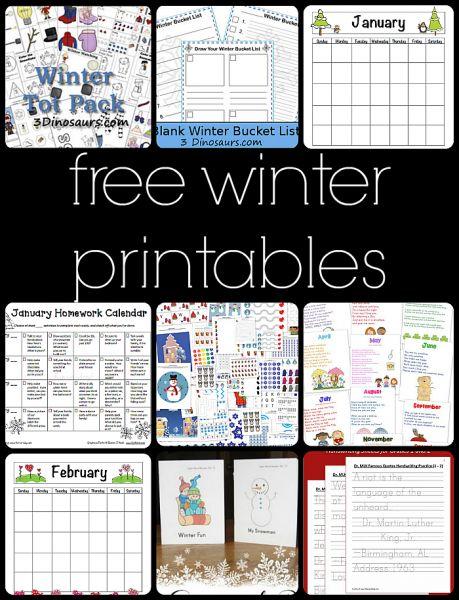 10 Free Winter Printables for Preschool to Third Grade - Fun-A-Day!