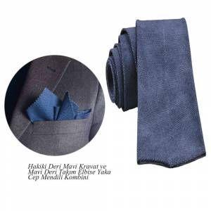 Hakiki Deri Mavi Kravat Ve Takım Elbise Yaka Cep Mendili Kombin -mavi -aksesuar -erkek-hakiki Deri GittiGidiyor'da 254221416