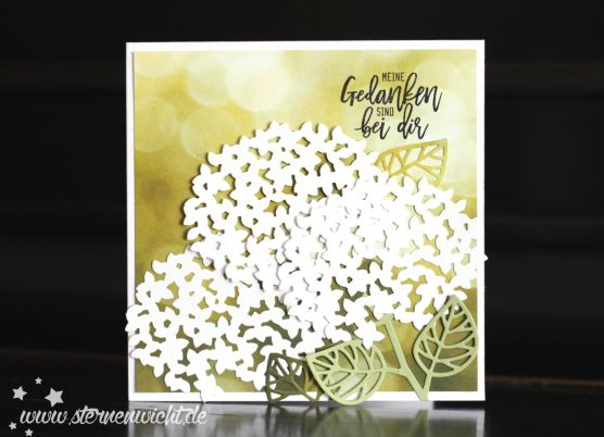 The hydrangea florals you can make with the Thoughtful Branches bundle are perfectly paired with the Serene Scenery designer series paper stack on this lovely card! #thoughtfulbranches #stampinup