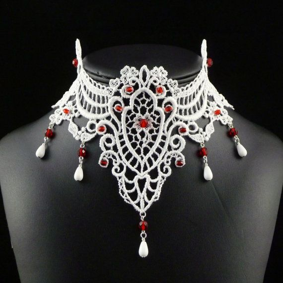 White Lace Bridal Necklace with Red Accents by Arthlin, www.arthlin.com