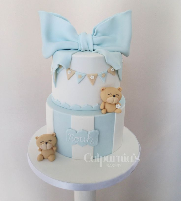 Baptism fondant cake teddy bear