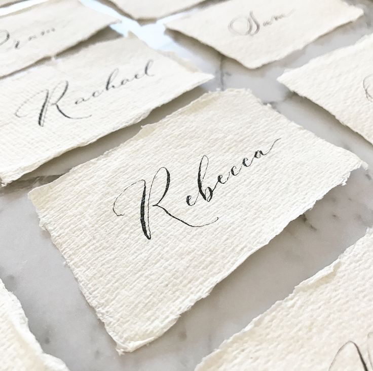 Swipe ⬅️ and maybe find your name if it starts with a 'P', 'R' or 'S' ☺️ . Wedding placecards in my Modern script on beautiful handmade paper for another Adelaide couple last week✨ . And if anyone's wondering, the marble background is actually marble vinyl from @kmartaus that I've stuck on a mat 😉 . #weddingcalligraphy #wedding #weddingstationery #bride #placecards #rebecca #peter #handmade #weddinginspo #adelaideweddings