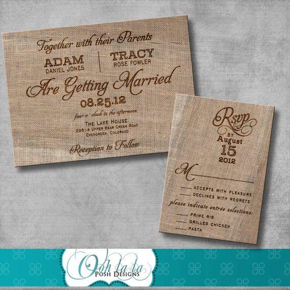 Rustic Burlap Wedding Invitation with matching Response Card  - DIY - Printable - CUSTOMIZABLE on Etsy, $30.00