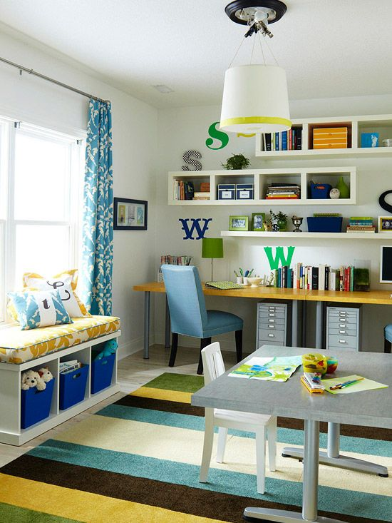 Floating shelves provide extra storage in this whimsical office. More storage solutions: http://www.bhg.com/rooms/home-office/storage/home-office-storage/: Office Ideas, Color, Playroom, Home Offices, Kid