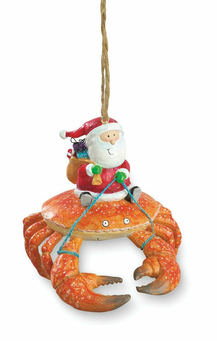 Beach decor adirondack chair beach christmas ornaments nautical - Beach Santa Riding Crab Claw Tiki Christmas Ornament