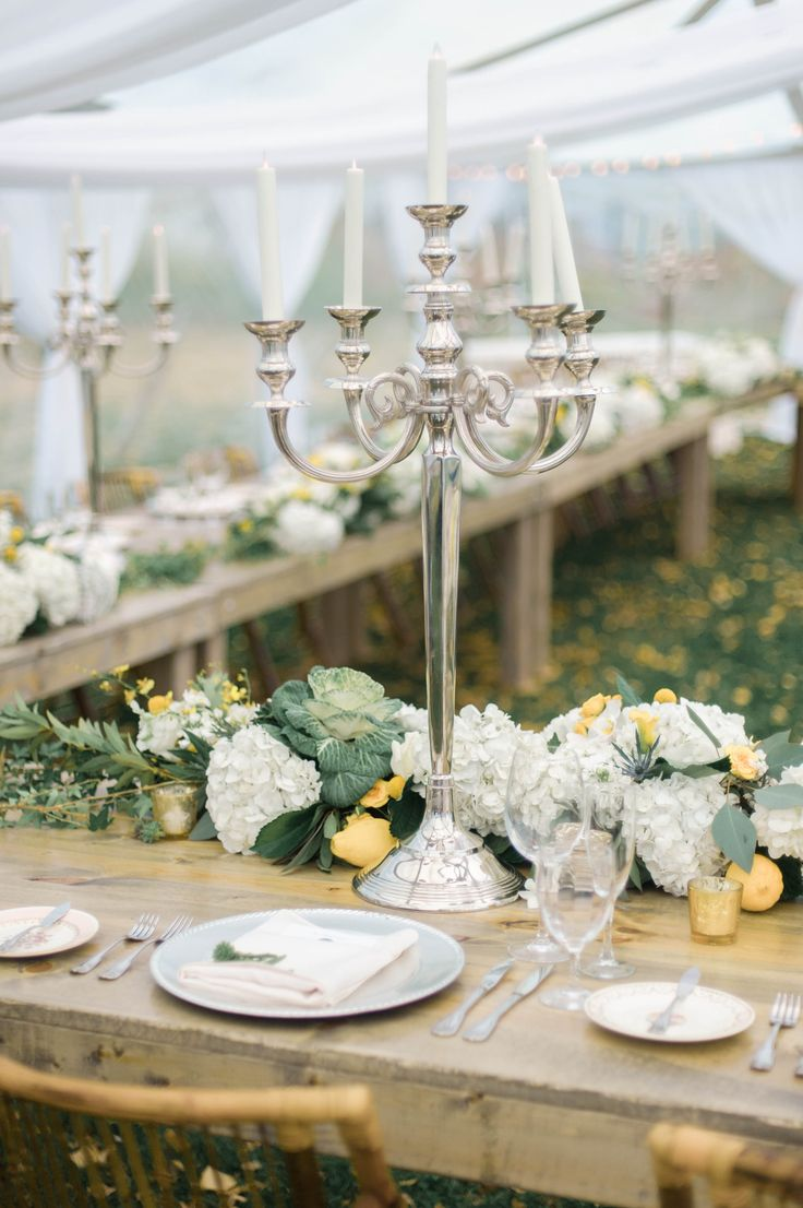 Silver Candelabras + Long, Low Centerpiece -- Photography: Emily Steffen Photography - emilysteffen.com | Intimate Autumn Wedding With Rustic Details #autumnwedding #intimatewedding