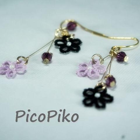 【pikomicco】さんのInstagramをピンしています。 《黒と紫で夜桜のピアス。 80番の黒、シックでかっこいいのです。  スワロフスキーは濃い紫。  春こいこい。  #春 #桜 #夜桜 #ハンドメイド #ピアス #スワロフスキー #ハンドメイド部 #花粉いや #紫》