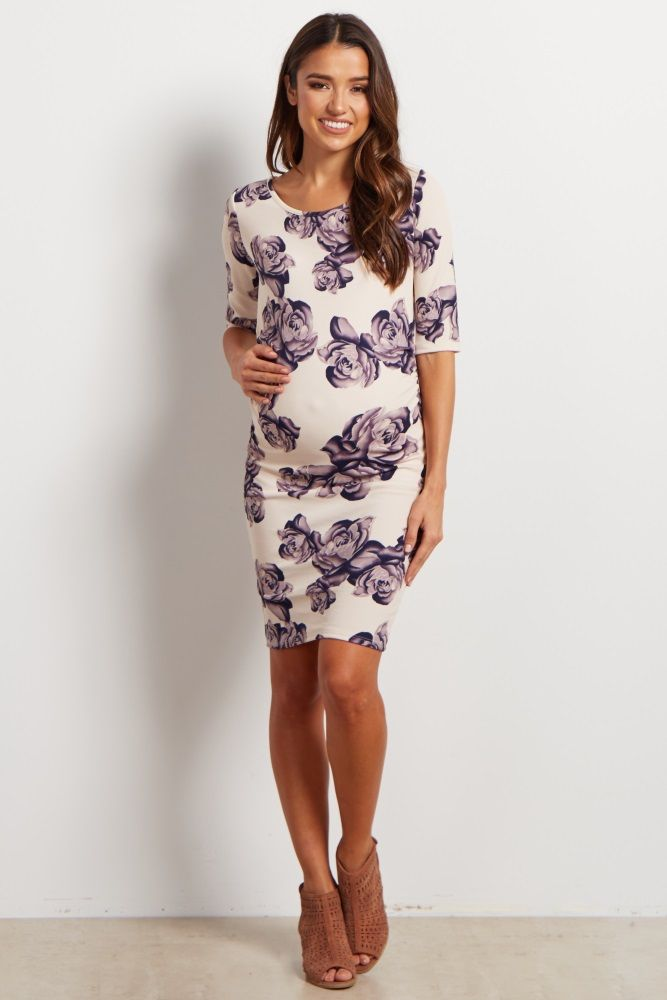 With a feminine rose print, this fitted maternity dress will be your new staple this year as a transitional mom. Dress for any occasion, day or night, with this chic ensemble. This dress will keep any mom comfortable for work or play and can be dressed up with a statement necklace and heels for a stunning ensemble.