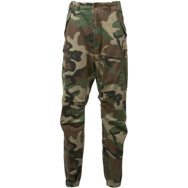R13 camouflage cropped trousers ($490) ❤ liked on Polyvore featuring men's fashion, men's clothing, men's pants, men's casual pants, men, pants, green, mens cotton pants, mens green pants and mens camo pants