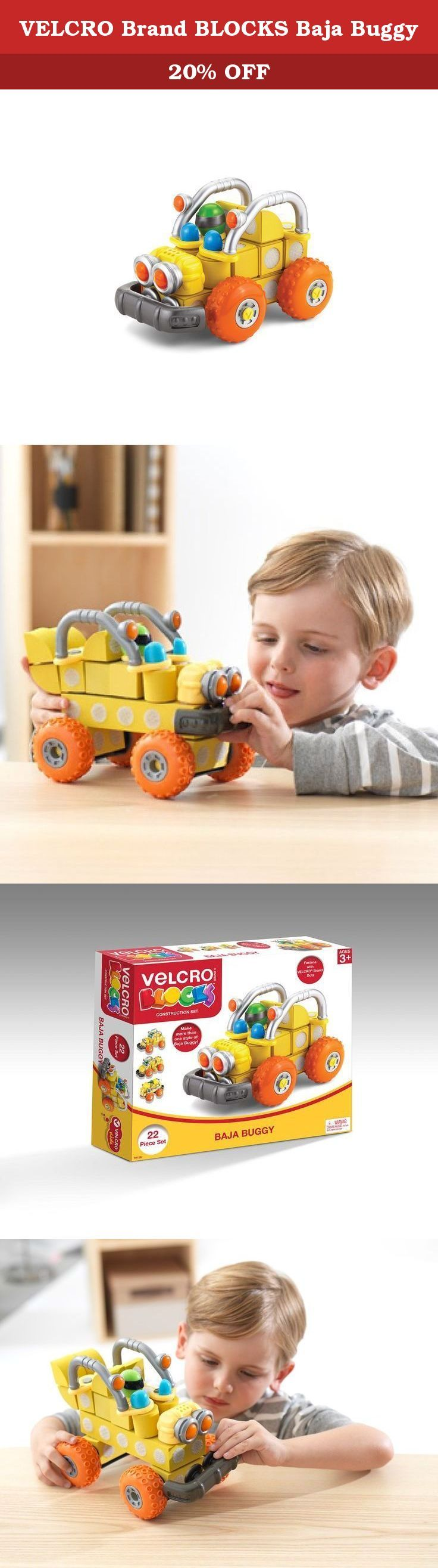 VELCRO Brand BLOCKS Baja Buggy. Build more with VELCRO Brand BLOCKS! These lightweight blocks attach together with clever VELCRO Brand Fastener dots. The Baja Buggy Set allows kids to assemble their own custom dune buggy. This set includes 22 pieces that can be combined with other VELCRO Brand BLOCK sets for extended entertainment. Children will love these safe, forgiving blocks that are tactile and easy for small hands to hold and play with. Recommended for ages 3 years and up and…