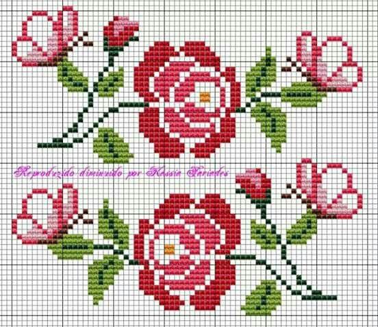Rosas e borboletas /gráficos ponto cruz
