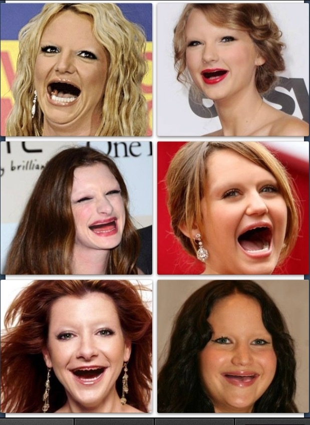 celebrities laughing with no teeth and no eyebrows ...