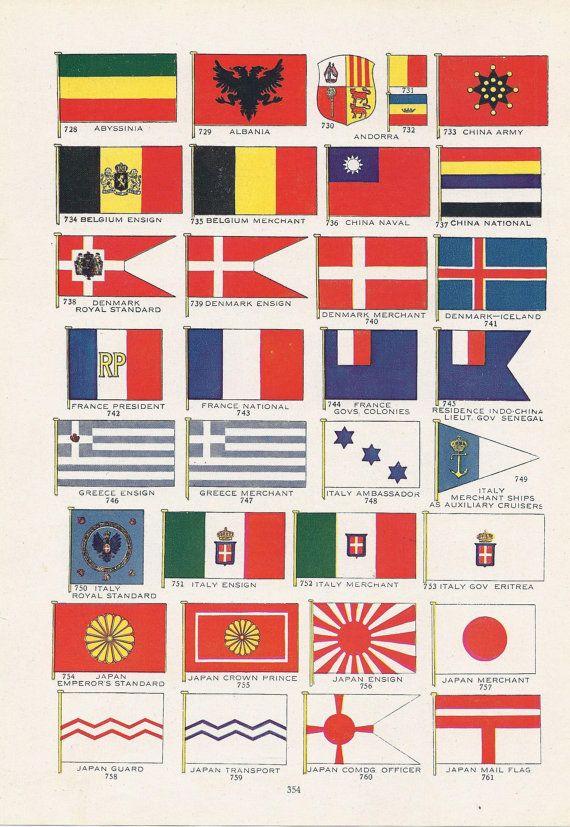 World Flags, Vintage Illustration, Abyssinia, Albania, Andorra, China, Belgium, Denmark, France, Greece, Italy, Japan, 1917