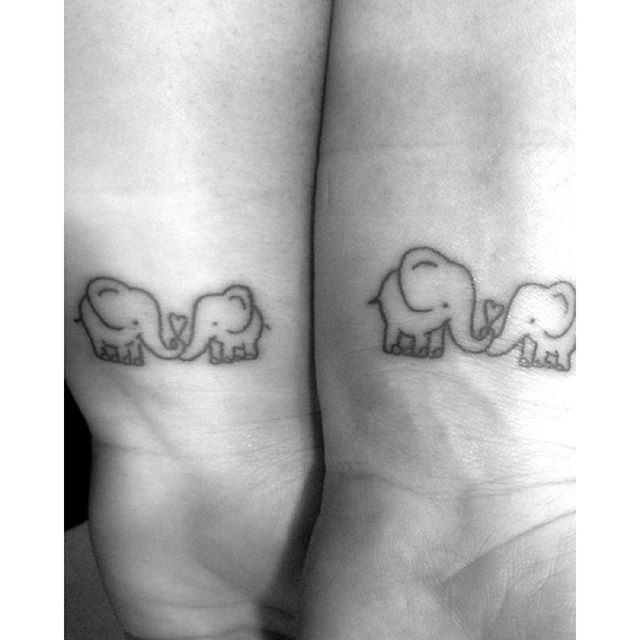 Pin for Later: 39 Mother-Daughter Tattoos Elephant Love