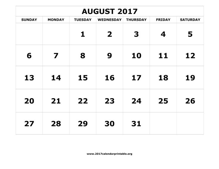 20 best August 2017 Calendar images on Pinterest Printable - bol template
