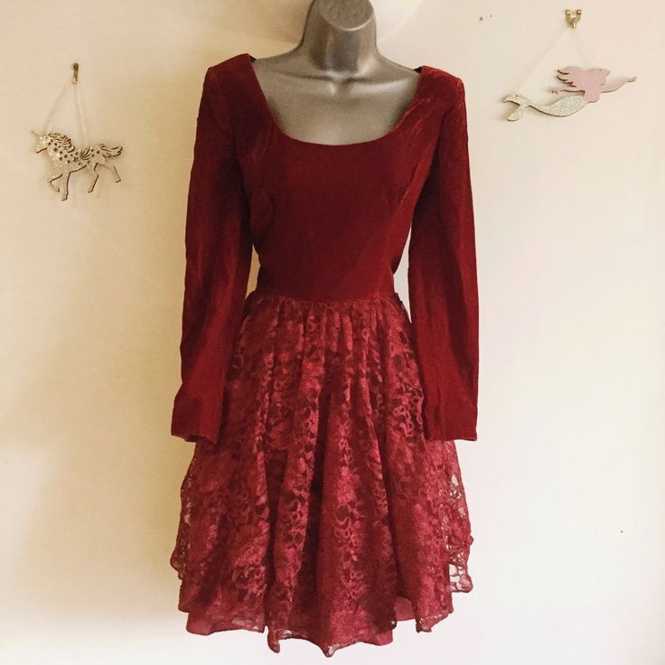 7bb09bef324 Beautiful vintage red velvet and lace dress this is a dress - Depop - 19