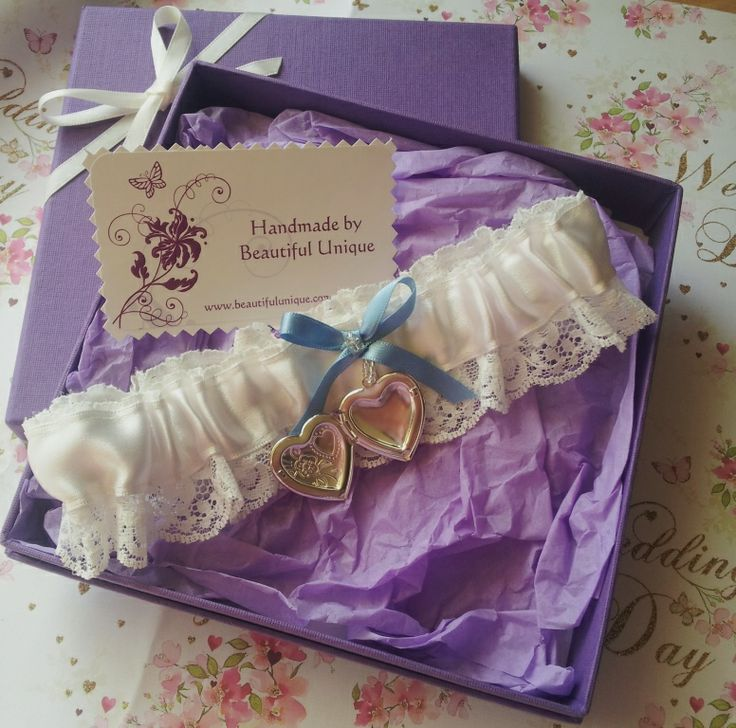 New silk ribbon garter with lace edging showing silver locket detail for your own keepsake photograph handmade by Beautiful Unique