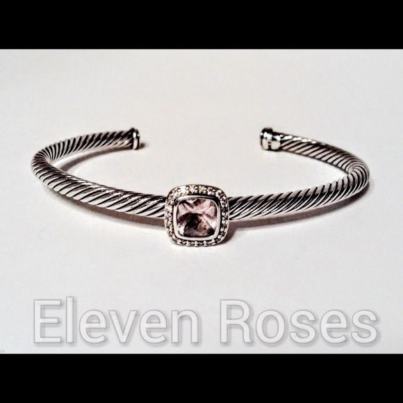 "David Yurman Diamond Noblesse Cuff Bracelet David Yurman Diamond & Morganite Noblesse Cuff Bracelet - 925 Sterling Silver - Approx. 0.11 Diamond TCTW - Morganite Gemstone Measures Approx. 7 X 7mm - SS Cable Measures Approx. 4mm - Hallmarked; D.Y., 925 - DY Style Number; B08063DSSAMODIM - (Pre-owned w/ overall light wear) - Measures Approx. 7"" (slightly self size adjustable) David Yurman Jewelry Bracelets"