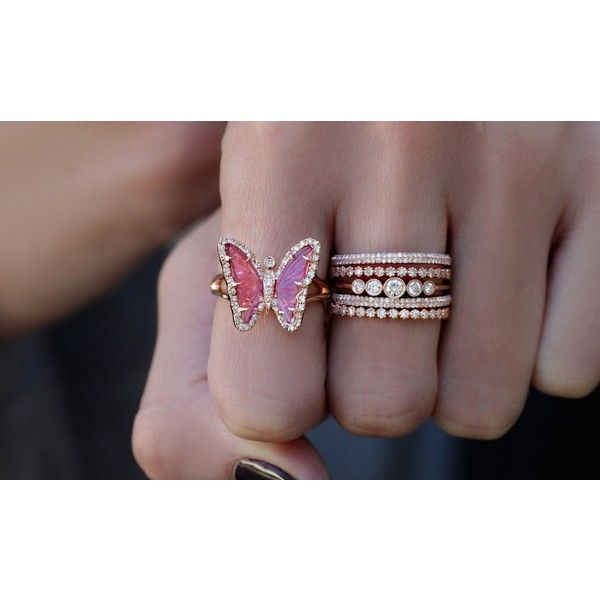14kt rose gold and diamond pink tourmaline butterfly ring – Luna Skye ($3,100) ❤ liked on Polyvore featuring jewelry, rings, pink tourmaline ring, butterfly ring, heart shaped diamond ring, rose gold diamond ring and heart shaped rings