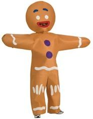 Gingerbread Man Adult Costume - Whatever you do, don't touch Gingy's gum drop buttons! This Adult Gingerbread Man Costume is fashioned after the beloved Gingy character in the Shrek films. It includes the felt-like foam front jumpsuit with silk-screened cookie decorations and attached gloves and oversized headpiece. 100% polyester. Pair with other Shrek costumes for a fun Halloween couples theme!