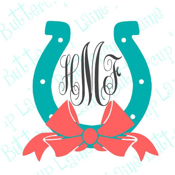 Horse Shoe with Bow Vine Monogram Yeti Vinyl by ButtercupLaine
