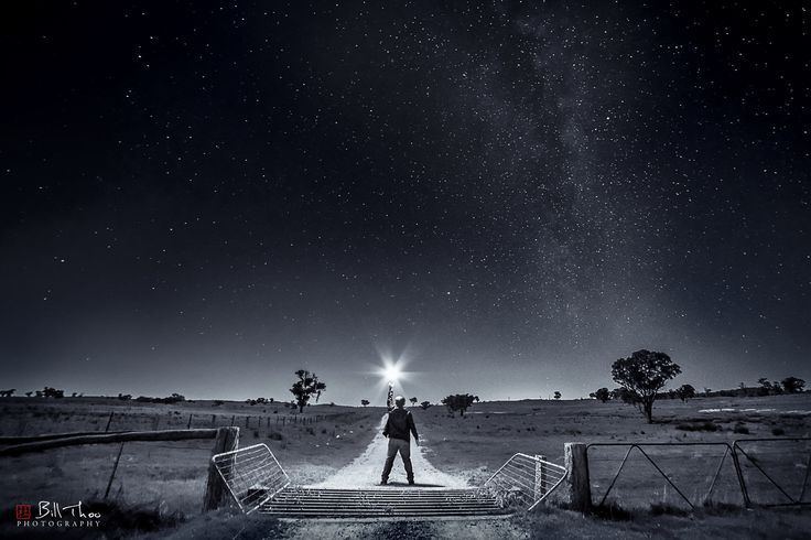 https://flic.kr/p/MKNgvj   The Dark Road   Near Obley, mid western NSW, Australia, about 1 hour from Dubbo, which is about 5 hours from Sydney, in September 2016. Although this is one of my favourite photography spots I had not been on this road before.  Sony A7rii. Samyang 14mm f/2.8. HVL F60M speedlight. ISO800 f/4.0 30sec. Capture One raw processing. Adobe CC Ps curves, levels, and vibrance. Nik Silver Effects Pro 2 monochrome conversion.
