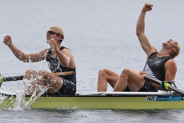 Hamish Bond and Eric Murray react after earning New Zealand its second Olympic gold medal. Source / Brett Phibbs NZ Herald