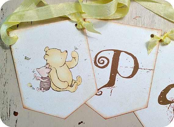 NEW - Personalized Classic Winnie the Pooh Banner - Cottage - Shabby Chic - Wedding - Baby - Birthday on Etsy, $2.50