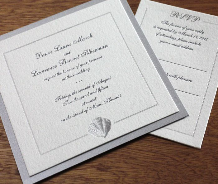 Elegant Seashell Framed Wedding Invitation In Silver Foil Stamping With Matching Paper Layer