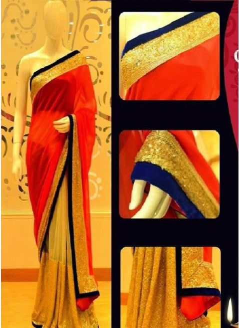 Magnificient Red With Beige Nett & Georgette Based #Saree With Sequin & Velvete Border