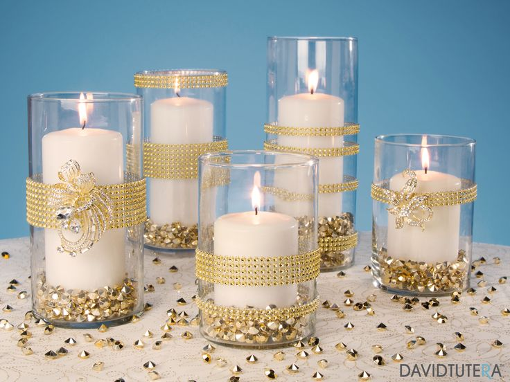 Gold Rhinestone Candle Holders
