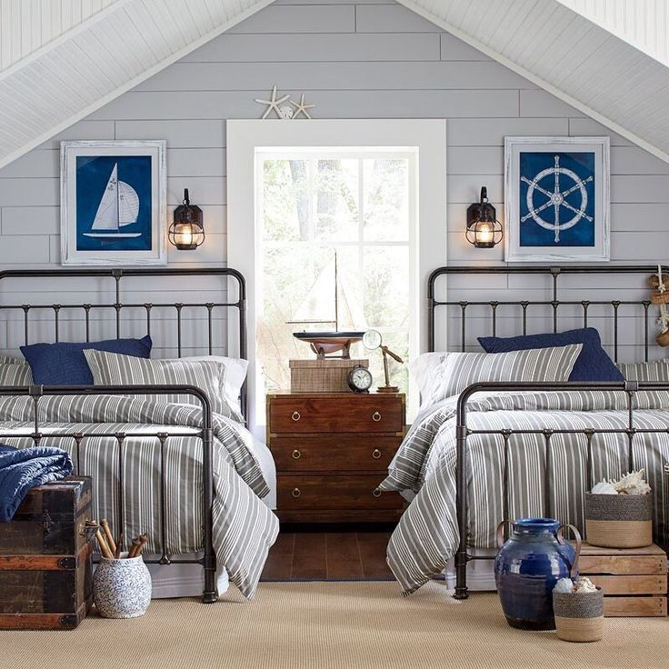 1 if by land, 2 if by sea…We're feeling oh-so inspired by these dual nautical beds! Score our traditional Chase Bed for kids rooms to guest rooms and beyond at the link in our profile. #birchlanebedroombliss #nauticalvibes