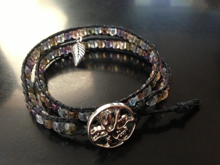 Double wrap made with Irish linen and Czech glass beads