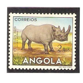 Angola 1953, 2 Ags. Black Rhinocerus.