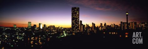Buildings in a City Lit Up at Night, Johannesburg, South Africa Photographic Print by Panoramic Images at eu.art.com