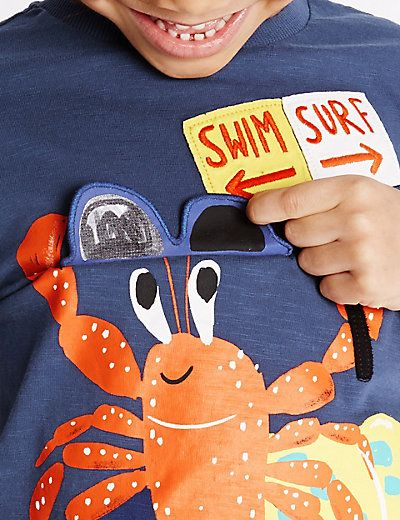 Pure Cotton Crab Print T-Shirt (1-7 Years)   M&S